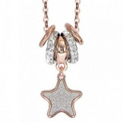 Colgante collar BOCCADAMO GLOSS bronce estrella anillas [AB1924]