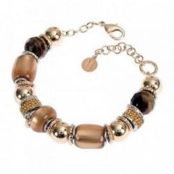 Pulsera mujer BOCCADAMO MILLY-STRASS bronce piedras marrones [AB1937]