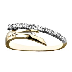 Sortija oro 18k bicolor diamante brillante 0.122ct circonita [AA6997]
