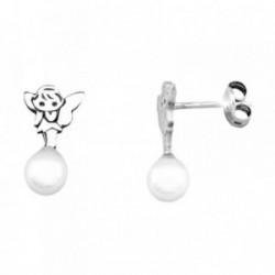 Pendientes HADA plata ley 925m  silueta mano perla shell 5mm [AB1983]