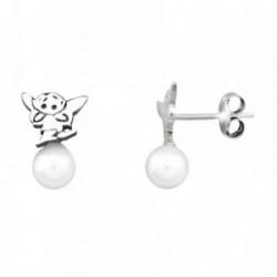 Pendientes HADA plata ley 925m  saltando perla shell 5mm [AB1984]
