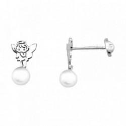 Pendientes HADA plata ley 925m  sintética felpa perla 5mm [AB1985]