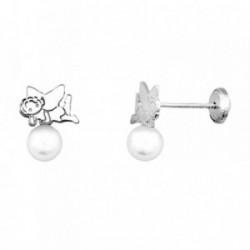 Pendientes HADA plata ley 925m  sintética tumbada perla 5mm [AB1986]
