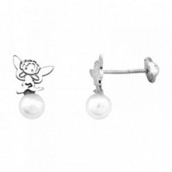 Pendientes HADA plata ley 925m  sintética saltando perla 5mm [AB1987]