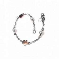 Pulsera plata Ley 925m chapado rosa estrellas perlas 6mm. [AB2170]