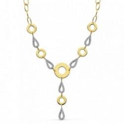 Gargantilla oro 18k bicolor círculos lisos 38cm. [AB2311]