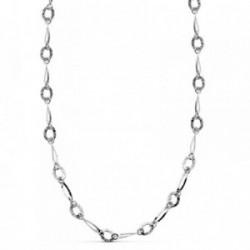 Collar oro blanco 18k motivos 45cm. eslabones alargados [AB2334]