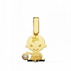 Colgante oro 18k niña láser circonita [AB2352]