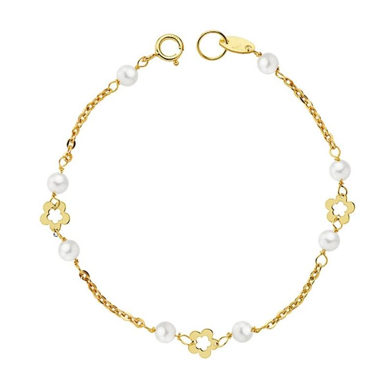 d1554b7c8295 Pulsera oro 18k primera comunión 15cm. flores caladas perlas 3.5mm.  cultivadas cadena forzada. Loading zoom