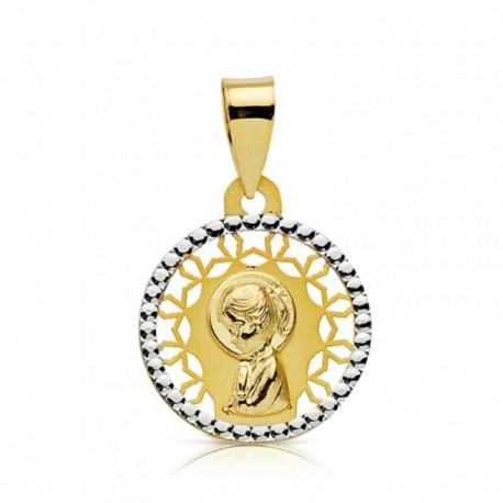 Medalla oro 18k bicolor Virgen niña calada 14mm. [AB2361]