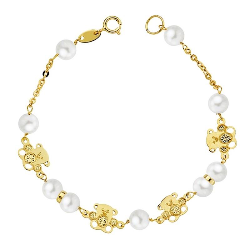 91c008006117 Pulsera oro 18k primera comunión 16.5cm. perla 5.5mm. osos centro tallado  niña. Loading zoom