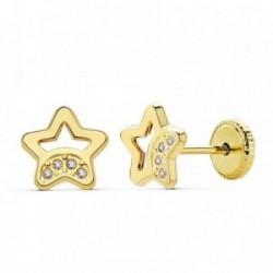 Pendientes oro 18k estrellas caladas 7mm. circonitas [AB2372]