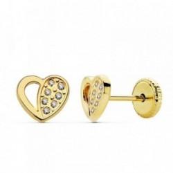 Pendientes oro 18k corazónes calados 7x6mm. circonitas [AB2373]