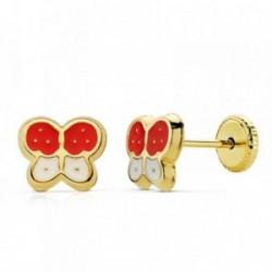 Pendientes oro 18k mariposas 8x7mm. rojo blanco esmaltados [AB2380]