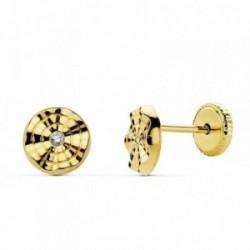 Pendientes oro 18k redondos 6mm. ondulados centro circonita [AB2381]
