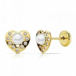 Pendientes oro 18k corazón 7x6mm. centro perla circonitas [AB2382]