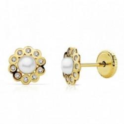 Pendientes oro 18k círculo 6.5mm. centro perla circonitas [AB2383]
