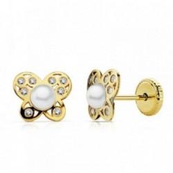 Pendientes oro 18k mariposa 7.5x6.5mm centro perla circonita [AB2384]