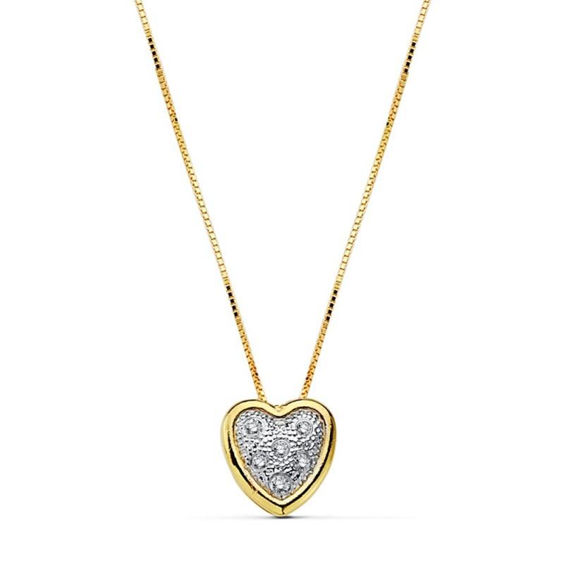 539b40d2b6d2 Colgante gargantilla oro 18k corazón circonitas cadena 42cm.  AB2385