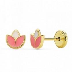 Pendientes oro 18k flor 5mm. rosa esmaltados [AB2386]