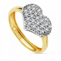 Sortija oro 18k bicolor corazón circonitas [AB2431]