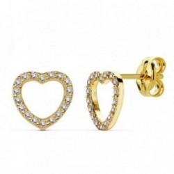 Pendientes oro 18k corazón circonitas calado 8mm. circonitas [AB2439]