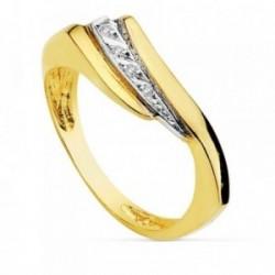 Sortija oro 18k bicolor banda circonitas [AB2457]