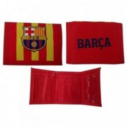 Cartera F.C. Barcelona infantil poliéster varios bolsillos velcro roja amarilla escudo