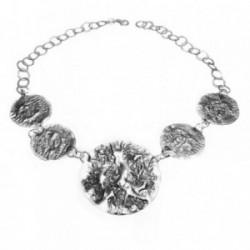 Gargantilla plata Ley 925m chapas redondas labradas [1031]