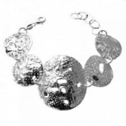 Pulsera plata Ley 925m chapas redondas labradas [1032]