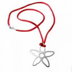 Colgante gargantilla plata Ley 925m flor calada cordón rojo [1991]