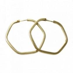 Pendientes Gold Filled 14k/20 aro liso hexagonal 30mm. [2353]