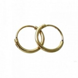 Pendientes chapado oro aro liso 11mm. [2634]