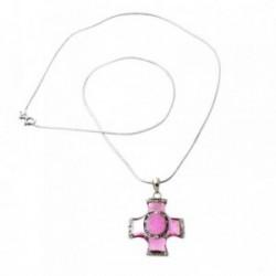 Colgante gargantilla plata Ley 925m cola topo cruz rosa [769]