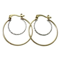 Pendientes Gold Filled 14k/20 aro 25mm. doble bicolor [2360]