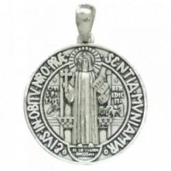 Colgante plata ley 925m San Benito 27mm. amuleto. unisex