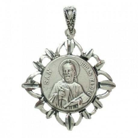 Medalla colgante plata Ley 925m San Judas Tadeo hojas 20mm. cerco tallado calado