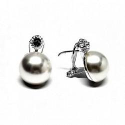Pendientes plata ley 925m garrita media perla 14mm. [AB2510]