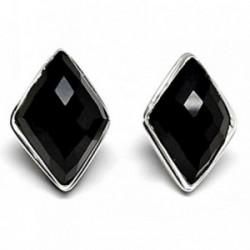 Pendientes plata ley 925m triangular piedra ónix [AB2524]