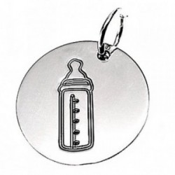 Colgante plata ley 925m disco 18mm. biberón oxidado [AB2624]