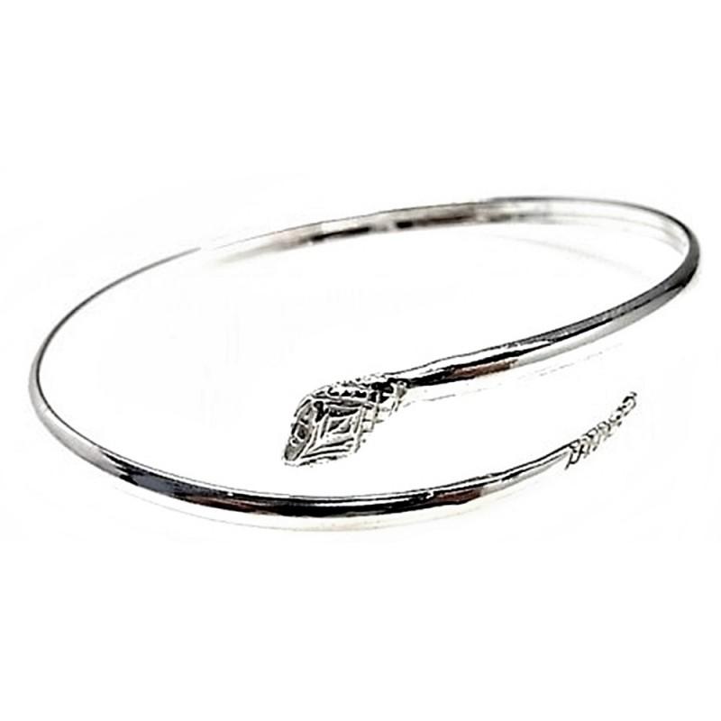 f780018cc490 Pulsera brazalete plata ley 925m motivo serpiente rígida  AB2655