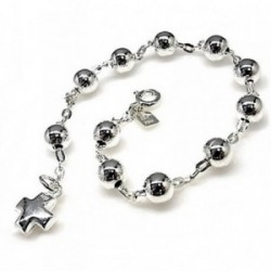 Pulsera plata ley 925m rosario bolas 6mm. cruz [AB2759]