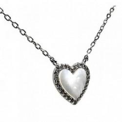 Colgante gargantilla plata ley 925m corazón 12mm. nácar [AB2761]