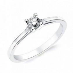 Solitario oro blanco 18k 1 diamante brillante 0,200ct. [AB2828]
