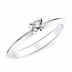 Solitario oro blanco 18k 1 diamante brillante 0,100ct. [AB2829]