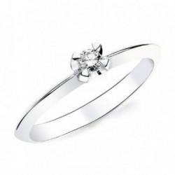 Solitario oro blanco 18k 1 diamante brillante 0,100ct. [AB2829]