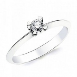 Solitario oro blanco 18k 1 diamante brillante 0,150ct. [AB2830]