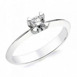 Solitario oro blanco 18k 1 diamante brillante 0,200ct. [AB2831]