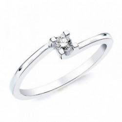 Solitario oro blanco 18k 1 diamante brillante 0,100ct. [AB2832]