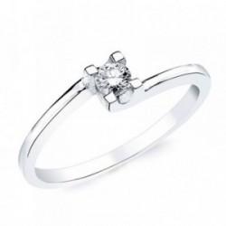 Solitario oro blanco 18k 1 diamante brillante 0,150ct. [AB2833]